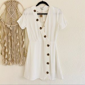Moon River Asymmetrical Linen Button Mini Dress